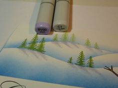 Fabulous tutorial on creating a winter landscape using ink pads and dabbers