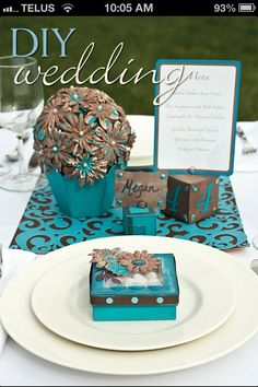 Turquoise and brown wedding colors with some purple flowers!