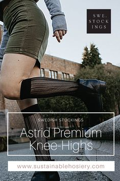 Net knee highs to keep you sophisticated and elegant. Astrid comes with a wide and soft, comfortable band. Here's why you'll love her: - Net knee highs - Soft and broad cuff - Toe reinforcements - 100% emission free knee highs, - Knitted from recycled yarn Astrid is knitted in our zero-waste, emission free facility in Italy. Composition: 97% recycled polyamide, 3% elastane. #swedishstockings #fishnetkneehighsocks #styleinspirationaustralia #sustainablefashionnz #fishnetsocks Fishnet Socks, Fishnet Stockings, Knee High Stockings, Knee High Socks, Scandi Chic, Recycled Yarn, Knee Highs, High Knees, Zero Waste