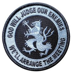 """[Single Count] Custom, Cool & Awesome {3.5"""" Inches} Small Round God Will Judge our Enemies We'll Arrange the Meeting Devgru Lion (Tactical Type) Velcro Patch """"Black & Gray"""" mySimple Products"""