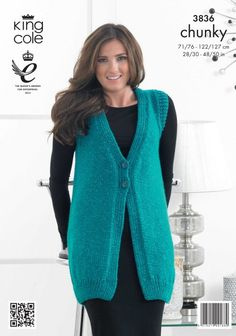 Waistcoat and Cardigan in King Cole Glitz Chunky Ladies Cardigan Knitting Patterns, Knit Cardigan Pattern, Crochet Vest Pattern, Knit Shrug, Knitting Patterns Free, Knit Patterns, Pull Bebe, Sleeveless Cardigan, King Cole