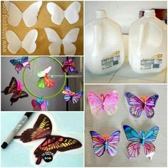 Butterflies made from milk jugs and magic markers. Plastic Bottle Flowers, Plastic Bottle Crafts, Recycle Plastic Bottles, Butterfly Decorations, Butterfly Crafts, Butterfly Art, Recycled Bottles, Recycled Crafts, Milk Jug Crafts