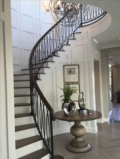 Curved staircase to the left of entry, shares a wall with bedroom Interior Stair Railing, Railing Design, Staircase Design, Staircase Railings, Curved Staircase, Staircases, Bannister, Stair Wall Decor, Round Stairs