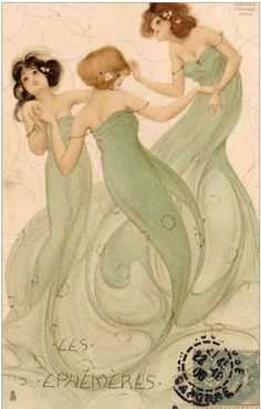 This charming painting is by Raphael Kirchner from Vienna, Paris, and New York City. He was principally a portrait painter and illustrator best known for Art Nouveau and early pin-up work, especially in picture postcard format Art Nouveau, Mermaids And Mermen, Pretty Mermaids, Alphonse Mucha, Mermaid Art, Vintage Mermaid, Mermaid Prints, Mermaid Fabric, Mermaid Paintings