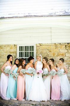 The perfect hues for a spring or summer wedding. #donnamorgan Bridesmaid Dresses: Donna Morgan - donna-morgan.com