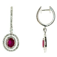 Color 18K White Gold Ruby & Diamond Drop Earrings
