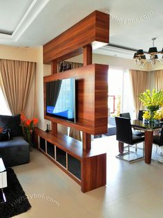 Home Builder Talisay, Cebu – House Design Ideas Living Room Partition Design, Living Room Divider, Room Partition Designs, Living Room Tv Unit Designs, Tv Stand Room Divider, Wood Partition, Room Divider Shelves, Small House Interior Design, Bungalow House Design