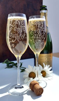 Personalised wedding gift champagne glasses  by CoveCalligraphy