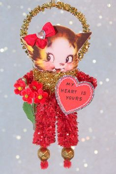 Retro Kitten Valentine's Day Feather Tree Ornament by TreePets