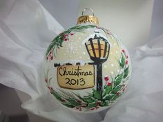 Christmas 2013 Ornament HandPainted Frosted by Barbarasartistry Handpainted Christmas Ornaments, Christmas Ornaments To Make, Hand Painted Ornaments, Noel Christmas, Homemade Christmas, Christmas Projects, Holiday Crafts, Christmas Decorations, Christmas Ideas