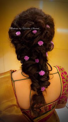 Bridal hairstyle with pretty flowers. Lose fishtail braid. Indian bride's reception hairstyle by Vejetha for Swank Studio. Bridal updo. Saree Blouse Design. Hair Accessories. Tamil bride. Telugu bride. Kannada bride. Hindu bride. Malayalee bride. Find us at https://www.facebook.com/SwankStudioBangalore