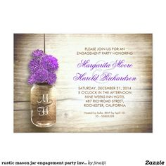 beautiful rustic wedding RSVP - wedding reply cards with distressed wood background and mason jar with purple color flowers . I suggest a beautiful linen texture paper for this design. Mason Jar Wedding Invitations, Wedding Anniversary Invitations, Engagement Party Invitations, Rustic Invitations, Bridal Shower Invitations, Dinner Invitations, Invites, Invitations Online, Pink Invitations