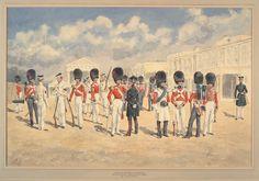 Coldstream Guards,Wellington Barracks, 1853 by Reginald Augustus Wymer British Army Uniform, British Uniforms, Crimean War, Honor Guard, Army & Navy, Napoleon, Great Britain, Military Uniforms, History