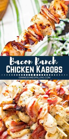 Quick, easy Chicken Kabobs stuffed with crispy bacon with a ranch marinade! You … Quick, easy Chicken Kabobs stuffed with crispy bacon with a ranch marinade! You can go wrong with this Easy Chicken Kabob recipe! via Gimme Some Grilling Chicken Kabob Recipes, Chicken Kabobs, Turkey Recipes, Grilling Recipes, Recipe Chicken, Cooking Recipes, Healthy Recipes, Chicken Kabob Marinade, Grilled Bacon Recipes