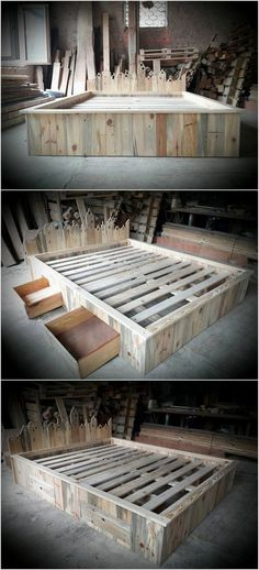 Wood pallet bed frame with headboard is another one of the best ideas which you can opt when it comes to the wood pallet reusing. This pallet wood bed is also included with the side portion of the storage drawers for the storage purposes. Wood Pallet Beds, Pallet Bed Frames, Wooden Bed Frames, Wood Pallet Furniture, Wood Beds, Wooden Pallets, Rustic Furniture, Bed Frame And Headboard, Headboard Ideas
