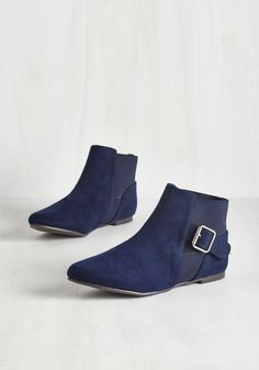 Audubon Amble Bootie. Amidst the beautiful herons and hibiscus, the most dazzling sight is still your stroll, as you promenade about in these rich navy blue booties. #blue #modcloth