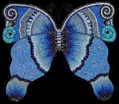 Blue Butterfly mosaic, by Irina Charny Mosaics Mosaic Diy, Mosaic Crafts, Mosaic Projects, Mosaic Glass, Mosaic Tiles, Mosaic Planters, Garden Mosaics, Butterfly Mosaic, Glass Butterfly