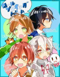 Urata, Soraru, Aho no Sakata and Mafumafu Art Manga, Anime Art, Vocaloid, Chibi, Song Images, Anime Group, Cute Japanese, Anime Kawaii, Animal Design