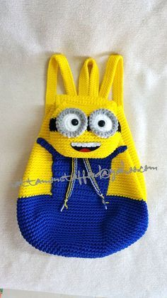 Minion  backpack, Handmade crochet backpack  birthday gift, christmas…: