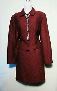Sz-8-Cache-burgundy-long-sleeve-mini-skirt-suit-NWT