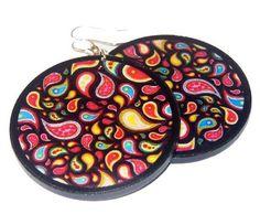 Paysley  wooden earrings by SzaraLotka on Etsy, $12.00