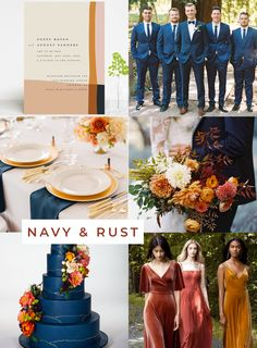 wedding themes Navy and Rust Wedding theme inspiration from West-South Fall Wedding Flowers, Fall Wedding Colors, Wedding Color Schemes, Fall Wedding Themes, Autumn Wedding Ideas, Wedding Trends, September Wedding Colors, September Weddings, March Colors