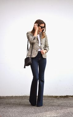 The Quarter Life Closet: Blazer & Bells. Not usually a fan of flares, but this is super flattering. Casual Work Outfits, Professional Outfits, Chic Outfits, Winter Outfits, Fashion Outfits, Womens Fashion, Jean Outfits, Fashion Tips, Flare Jeans Outfit