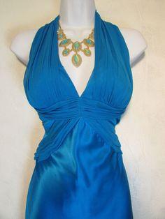 Sz 10 Cobalt Blue Satin Mermaid Style Evening Gown by Cache   eBay