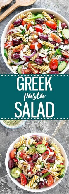 A super flavorful, colorful, and easy Greek pasta salad made with healthy, simple ingredients: creamy feta cheese, juicy tomatoes, crisp cucumber, crunchy green bell pepper, pungent red onion, and tangy Kalamata olives. Perfect for picnics, barbecues, or outdoor parties!