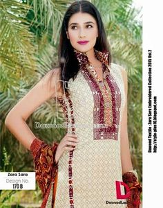 Design No. 170-B From Zara Sara Embroidered Lawn 2015 Vol.2 By Dawood Textile