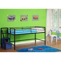 "Walmart: Junior Twin Loft Bed with Storage Steps, Black.  $219 and I love the steps, but it is only $31"" clearance underneath."