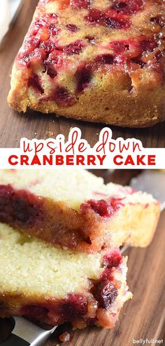 This upside down cranberry cake is buttery and moist, with a sweet and tangy brown sugar cranberry topping and orange zest speckled throughout. Perfect for the holidays. So easy and good! Cranberry Bread, Cranberry Recipes, Holiday Recipes, Cranberry Muffins, Thanksgiving Recipes, Bread Recipes, Baking Recipes, Dessert Recipes, Quick Recipes