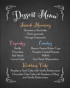 Wedding Dessert Menu #weddingcake #weddingdesserts #cupcakes #weddings