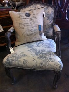A french themed refurbished chair from monthly flea market, Sweet Salvage in Phoenix.