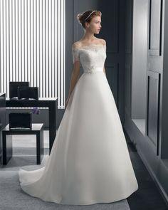 ロマンス オフショルダー チャーチ A ライン ブライダルドレス ウェディングドレス Hro0139