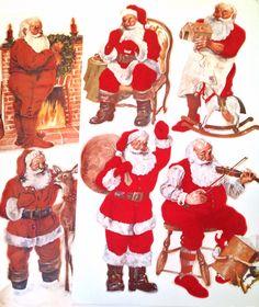 vintage Christmas decorations - jumbo flocked Santa cardboard party props by forrestinavintage on Etsy