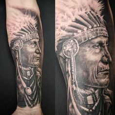 Indian Chief tattoo by Matt Parkin @ Soular Tattoo                                                                                                                                                                                 More