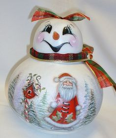 Snowman Gourd with Santa Birdhouse and Winter by FromGramsHouse