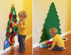 Felt Christmas tree that a toddler can decorate over and over and leave the real one alone! - Click image to find more DIY & Crafts Pinterest pins