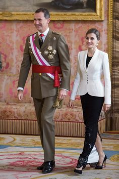 King Felipe VI of Spain and Queen Letizia of Spain attend the Pascua Militar ceremony at the Royal Palace on January 6, 2016 in Madrid, Spain