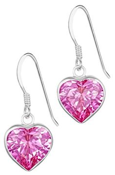 Sterling Silver 48 cttw Simulated Diamond Pink CZ Heart Dangle Earrings for Girls Hypoallergenic -- Read more reviews of the product by visiting the link on the image.