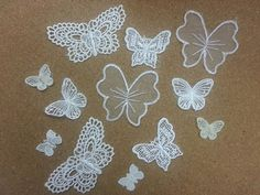 12 Vintage LACE BUTTERFLY Stick, Sew On Fabric Motifs, Craft, Sewing, Patches