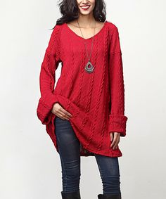 Red Cable Knit V-Neck Tunic