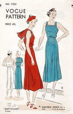 1930s sailor dress women's vintage sewing pattern reproduction // summer dress nautical details // PICK YOUR SIZE bust 32 34 36 38 40