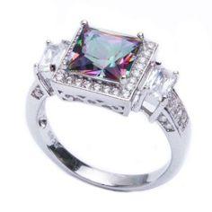 #blackdiamondgem .925 Sterling Silver 5.50ct Princess Cut Rainbow Colored CZ & Cz Ring Size 9 #blackdiamondengagementrings http://blackdiamondgemstone.com/colored-diamonds/jewelry/rings/statement/925-sterling-silver-550ct-princess-cut-rainbow-colored-cz-cz-ring-size-9-com/