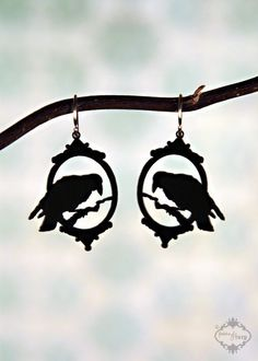 Lenore - Neo Victorian raven earrings in black stainless steel