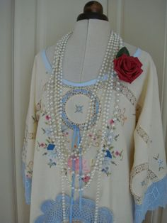 Really Pretty Hand Embroidered Crochet Vintage Cotton Cream and Blue Dress Tunic Doily Applique Upcycled