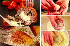 Boulettes de viandes au cœur mozzarella Salty Foods, Mozzarella, Mashed Potatoes, Grains, Rice, Nutrition, Beef, Cooking, Ethnic Recipes