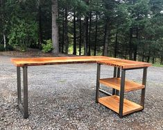 L-shaped Desk. Wood and steel desk. Old desk. Executive desk,Envío libre en forma de L escritorio. Reclaimed Wood Desk, Rustic Desk, Industrial Desk, Reclaimed Lumber, Industrial Furniture, Wood Furniture, Modern Wood Desk, Furniture Vintage, Wood Wood