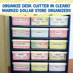 Desk Organization and Home Office Organization ideas - declutter your desk with cheap Dollar Store Containers #gettingorganized